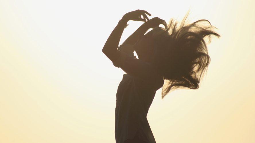 Girl wind hair